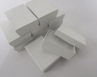 Pearl White Boxes - 20 count (3.25 x 2.25 x 1in.) Cotton Filled Jewelry Boxes