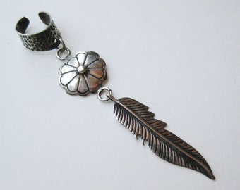 Vintage Fine Navajo Indian Feather Sterling Silver Long Right Ear Cuff Dangle Earring