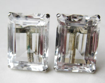 Vintage Art Deco Emerald Cut Crystal Fine Sterling Silver Screwback Earrings