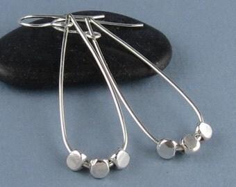 Long Modern Sterling Silver Teardrop Earrings