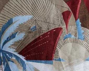 """1970s Knit Fabric - 2.5 Yards x 47.5"""" - Cruise Ship Novelty Print Yardage - Sunrise & Sunset Deco Horizons - Synthetic Jersey Knit - 46676"""