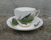 royal prince wild fern tea cup saucer england fine bone china collectible