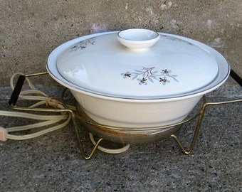 salem whimsey international ironstone covered casserole with electric warmer 50s entertaining