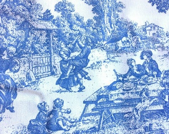 Blue and White Country Wedgewood Type Print 1 1/3 Yards X0449