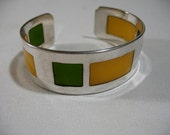 Modernist Silver Plated Cuff Bracelet with Celluloid Panels