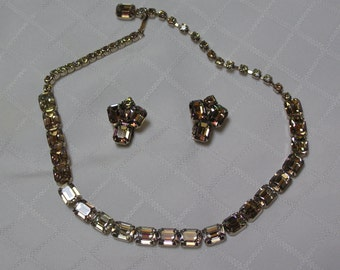Weiss amber green borealis baguettes rhinestone finish necklace and clip earrings