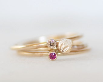 Diamond Ruby Petal Rings - Thin Gold Ruby and Brown Diamond Stacking Ring - Choose 14k OR 18k Gold