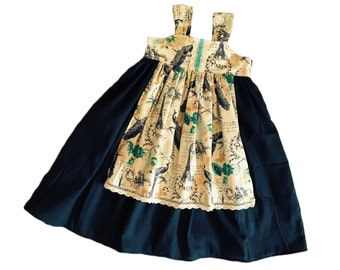 Girls Fall Apron Knot Dress Navy or Teal Ivory Cluny Lace