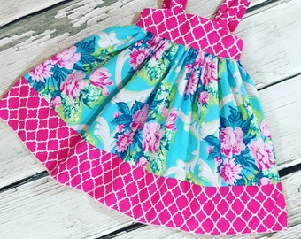 Girls Reverse Knot Dress Ambrosia Collection Bright Floral Hot Pink Quatrefoils Lime Aqua Turquoise