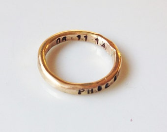 Hand Stamped Gold Ring-14k gold fill ring-One Mommy Ring