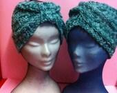 Boho Style Crochet Wool Tweed green-white   Turbans,Crochet Knitting Wool Tweed green-white   Headbands, Wool Tweed green-white Turbans.