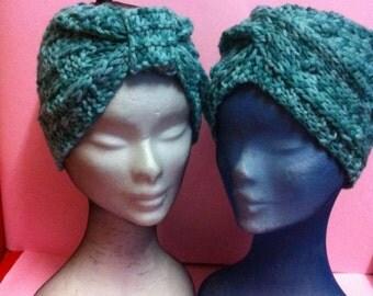 Boho Style  Hook  Wool Tweed green-white   Turbans,Crochet Knitting Wool Tweed green-white   Headbands, Wool Tweed green-white Turbans.