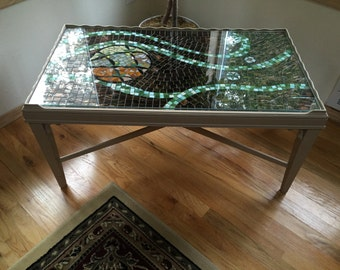 Custom One of a Kind Vintage Mosaic Coffee Table