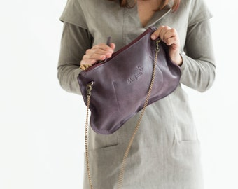 25% OFF, Leather Clutch Purse, Purpel Leather wristlet Bag, Soft Leather Clutch Purse, Women handbag, crossbody leather bag, purple sharehol