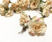 24 Ivory Blush Miniature Wild Roses -  Artificial Flowers, Silk Flowers, Flower Crowns