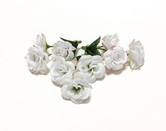 9 WHITE Mini Roses - Small Flowers - Artificial Flowers, Silk Flowers, Flower Crown, Mllinery, Wedding, Corsage
