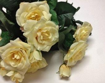 Silk Flowers - 15 Inch YELLOW Rose Bush -  Artificial Roses