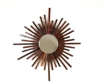 "MIRROR - ""Starburst"" - Wine Wood Stave Mirror - 100% recycled"