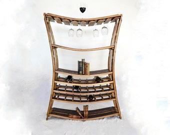 Wine Rack - RHONE - Wine Barrel Stave Wine Rack // Oak Wood Bookcase // Wine Glass Holder // Reclaimed Wood Furniture // Kitchen Winery