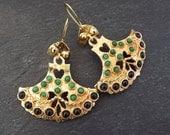 Dangly Fan Gemstone Ethnic Turkish Earrings - Black and Emerald Green Jade - Gold Plated Brass