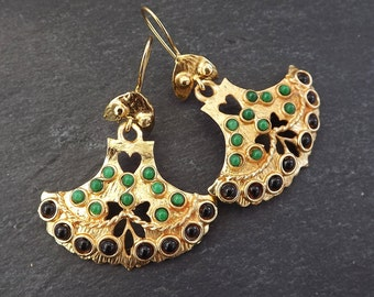 Dangly Fan Gemstone Ethnic Turkish Earrings - Black and Emerald Green Jade - Gold Plated Brass