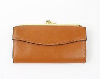 VINTAGE 1970s Leather Wallet Tan Brown