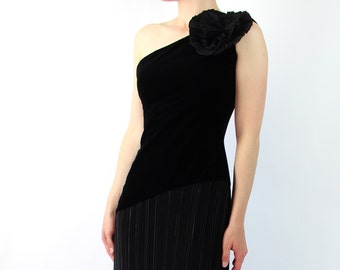 VINTAGE Asymmetrical Dress One Shoulder Black Velvet Flower