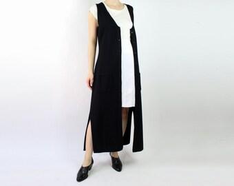 VINTAGE Long Black Knit Dress Sleeveless Slits