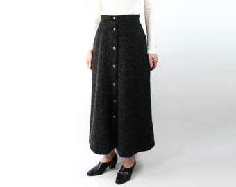 VINTAGE Mohair Skirt Fuzzy Grey Long
