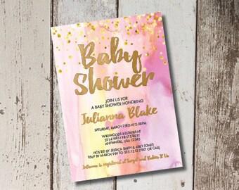 DIY Printable Watercolor Baby Shower Invitation
