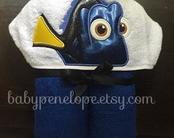 Blue Fish Hooded Towel - Dory Birthday Gift - Dory Christmas Gift - Personalized Birthday Gift