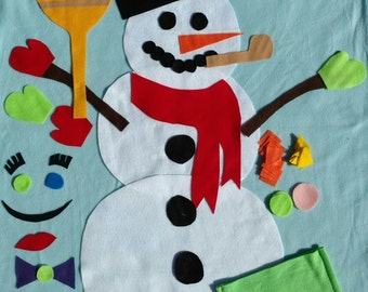 Felt snowman - pretend snowman - diy snowman - play snowman - snowman kit - giant snowman decoration - build a snowman- kids Christmas gifts