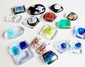 17 Handmade Fused Glass Cabochons. Lot of Fused Glass. Jewelry Supplies. Dichroic Glass, Bubble Glass, Murano Glass, Tack Fused ...and more.