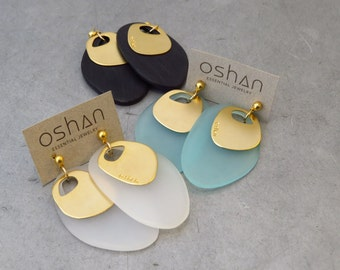 24K gold plated earrings with black perspex