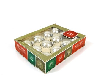 Silver Shiny Brite glass ornaments, Box of 12, Christmas tree decorations