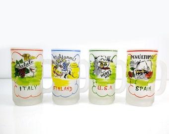 Vintage Frosted Beer Mugs / Hazel Atlas Steins / Gay Fad Studios / Colorful Nation Mugs