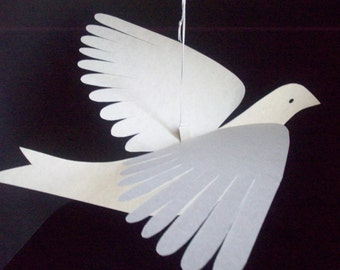 Paper Birds--Two Extra Large Parchment Doves
