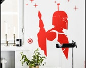 Star Wars WALL DECAL : Boba Fett Bounty hunter silhouette portrait. With galaxy stars. Decor, Vinyl, sticker. The Force awakens
