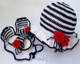 Navy baby set crochet pattern - hat with sandals. Permission to sell finished items.