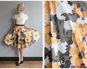 1950s Skirt // Golden Floral Skirt // vintage 50s skirt