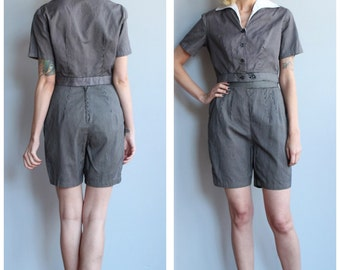 1950s 2pc Set // Abbey Road Jacket & Shorts 2pc Set // vintage 50s pinstripe set