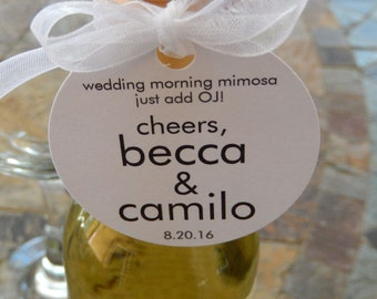 """Wedding Custom 2"""" Favor Tags - For Mini Champagne Bottles - Wedding Morning Mimosa Cheers - Mimosa Wedding Favors - (50) Printed Gift Tags"""