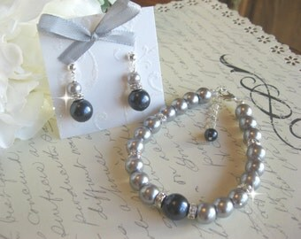 Swarovski Navy Blue and Grey Pearl and Rhinestone Bracelet and Earring Set/Bridesmaid Jewelry Set/Bridal Jewelry/Wedding Jewelry