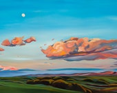 Camas Prairie with Moon - giclee print on paper or canvas