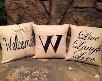 Choose your letter-  pillow 16 x 16 decorative pillow.