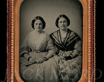 Large 1850s HALF PLATE Ambrotype Photo of Sisters or Twins