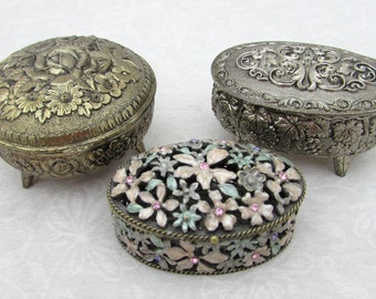 3 Trinket Jewelry Boxes - Metal & Enameled Metal  - 50s-60s - Japan