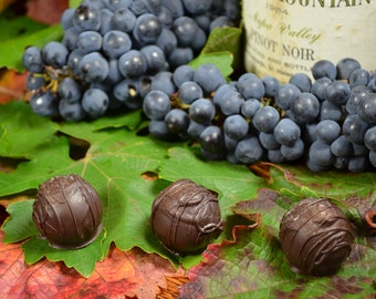Chocolate Wine Truffles, Pinot Noir, Wine Truffles, Dark Chocolate, Truffles, Wine Chocolate, Chocolate Wine, Gifts for Him, Hostess Gift