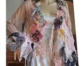RESERVED for Margie Beautiful  Delicate Feminine Sexy Peach Silk Jacket With Black Lace NARCISSUS And ROSES  Boho Fairy Tattered Romantic