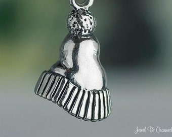 Sterling Silver Ski Cap Winter Hat Charm Adults Children Solid .925